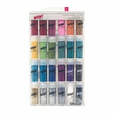American Crafts Wow Extra Fine Glitter Set 24 Jars Cardmaking Assorted