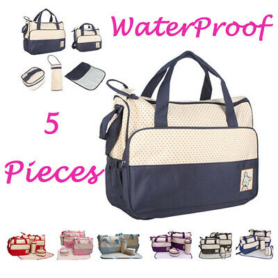5 Pcs Baby Changing Diaper Nappy Bag Mum Handbag Multi-functional Bottle Holder