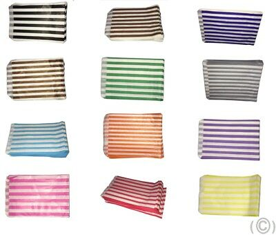 CANDY STRIPE PAPER BAGS SWEET FAVOUR BUFFET GIFT SHOP PARTY SWEETS All COLOURS