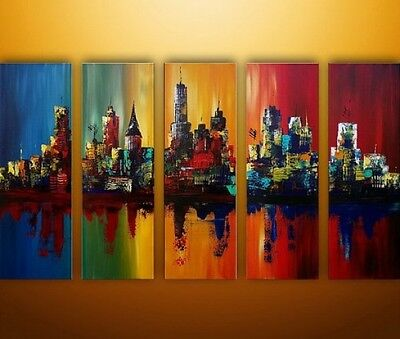 Modern Oil Painting Abstract Art City Landscape Wall Decoration Framed On Canvas