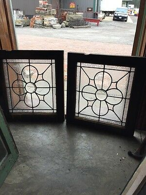 Sg 370 Matched Pair Antique Leaded Glass Textured Glass Windows
