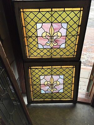 Sg 377 Matched Pair Antique Stainglass Fluer De Lis Windows