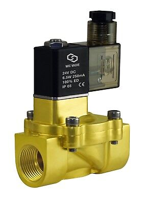 """3/4"""" NPT NC Brass Electric Air Water Solenoid Valve Low Power Consumption 24V DC"""
