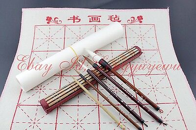 Lot of 5 Pcs Chinese Water Ink Painting Sumi-e Flower Bird Brush+1Pc BAMBOO Roll