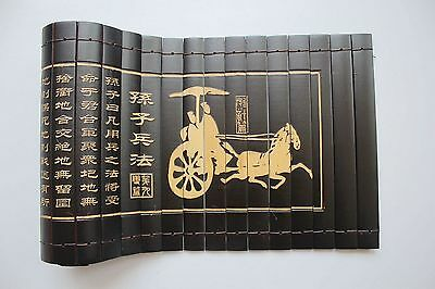 "Chinese Classical Bamboo Scroll Slips famous Book of "" the art of war"" 82X20CM"