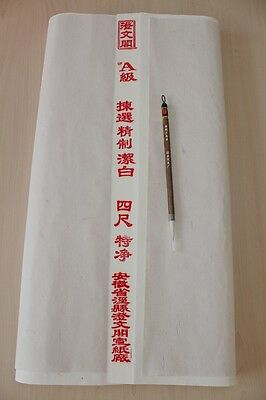 "100pc 54""x27""Rice Xuan Paper Ink Painting Calligraphy Sumi-e +1PC ""Santu"" Brush"