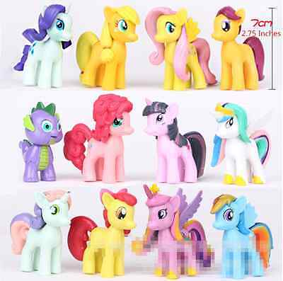 12Pcs/Set 7CM Lot of My Little Pony funny Cake Toppers Doll Action Figure Toy