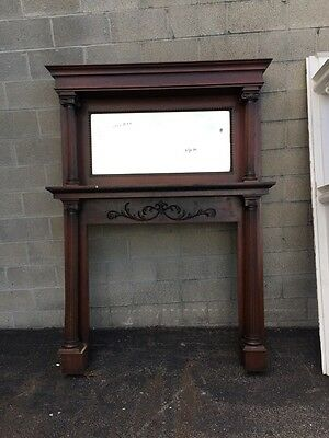 Fp Cm 16 Antique Oak Full Fireplace Mantel Beveled Mirror
