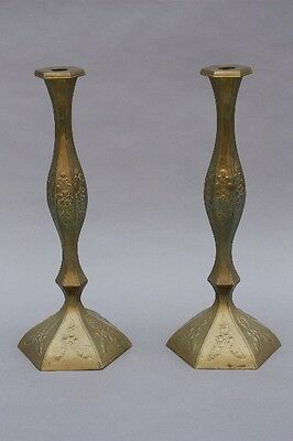 Pair Large Brass Mexican Candlesticks Antique Repousse Candle Holders (8781)