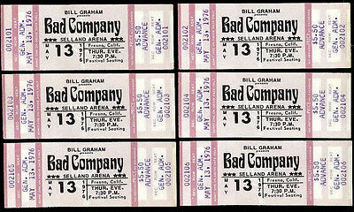 6 Unused Consecutive Numbers Bad Company Rock Music Concert Ticket May 13th 1976