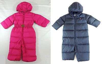 Ralph Lauren Polo Pony Snow Suit Quilted Hooded Overall Puffer Down Jacket Belt
