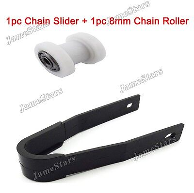 Motorcycle White 8mm Chain Roller Tensioner Chain Slider For Pit Dirt Bike