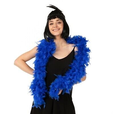 85G High Quality Thick Blue Feather Boa Fancy Dress Luxury Burlesque 1.9M