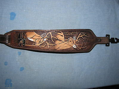Leather Brushey Creek Deer Design Gun sling