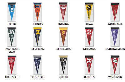 2 New Ncaa Big 10  Mini Wool Felt Pennants Officially Licensed You Pick Team