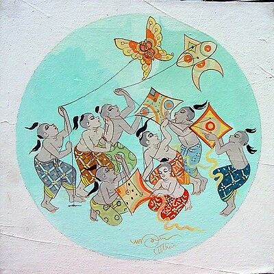 Thai Art Painting Kiting ACRYLIC HAND PAINTED ON CANVAS HOME DECOR Office Decor