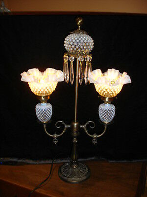 Fenton Gas-Student Style French Opalescent Hobnail Glass Double Shades, Rare