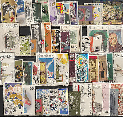 Malta 50 different commercially used stamps (commemoratives)
