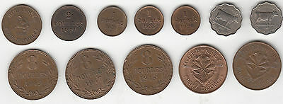 Guernsey coins 1 2 4 & 8 Doubles 3 Penny 1956/59 - Multi listing