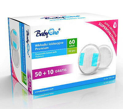 NIPPLE PROTECTOR BabyOno Cotton Disposable Breast Pads 60 Pieces Shields 031/60