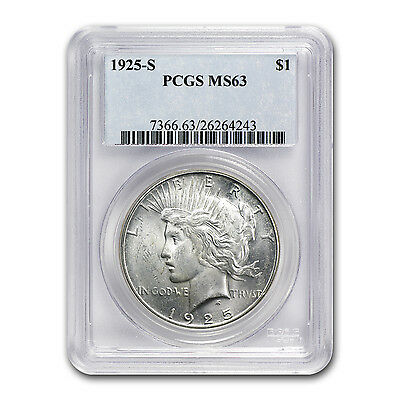 1925-S Peace Silver Dollar - MS-63 PCGS