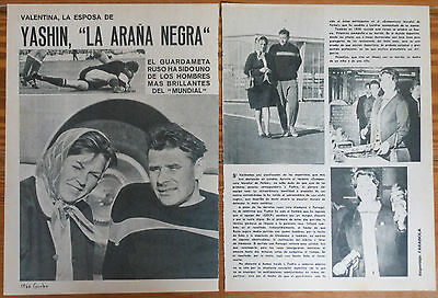 LEV YASHIN 2 page 1966 article clippings photos Football Black Spider Russia