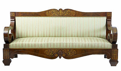Stunning 19Th Century Beidermeier Mahogany Inlaid Scroll Arm Sofa
