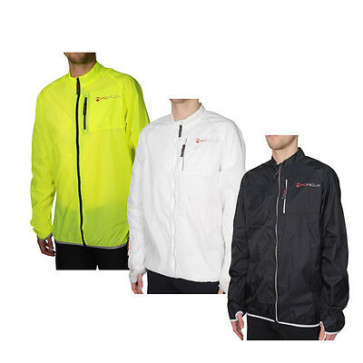 Piu Miglia Mens Rimini Water Repellent Hi Viz Light Running Cycling Jacket Top