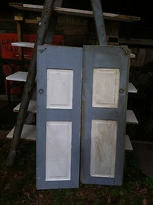 Vtg Pair 1800's Old  Wooden Window Shutters Architectural Salvage Screen 46 in