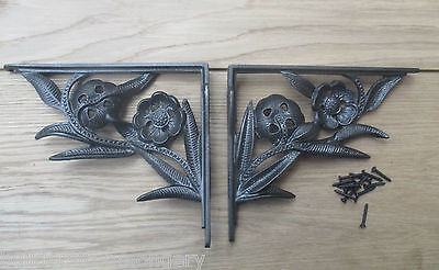 PAIR OF FLOWER  antique Vintage victorian style cast iron shelf brackets