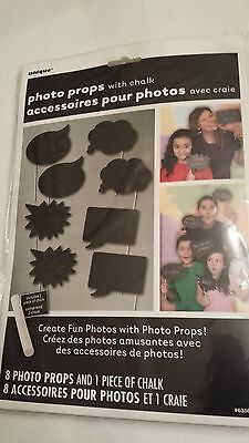 CHALKBOARD Photo Booth Props Set of 8 Chalkboard signs - Create Fun Photos!