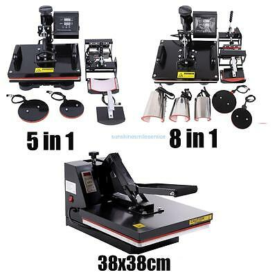 8in1 or 5 in 1Multifunction Heat Press /38x38cm High Pressure /2000w flash dryer