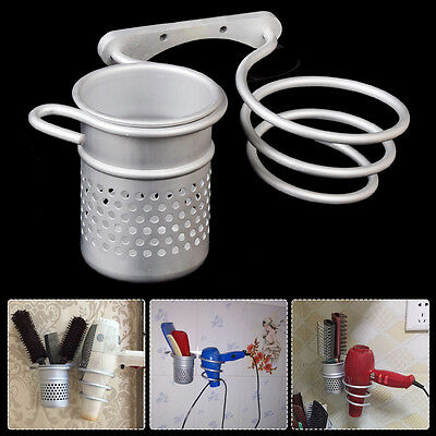 HOT Aluminum Wall Mounted Bathroom Hair Drier Dryer Rack Storage Holder+Comb Cup
