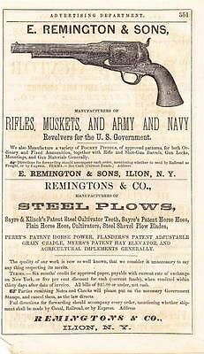 Remington Advertisement for Army and Navy Pistols - 1865