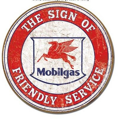 """Mobil - The Sign of Friendly Service - 11.75"""" Round - Tin / Metal Sign #2025"""