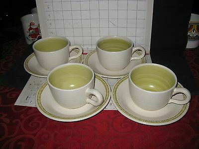 lot of 4 FRANCISCAN Pottery Cups and Saucers Mugs Handmade Handpainted