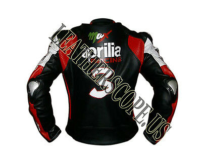 Max Biaggi Aprilia MotoGp Motorbike, Motorcycle Racing Leather Jacket( 15% off )