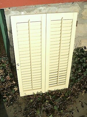 "Vintage Window Shutters Louvered, Ivory Finish  27"" x 17 1/2"" Wide"