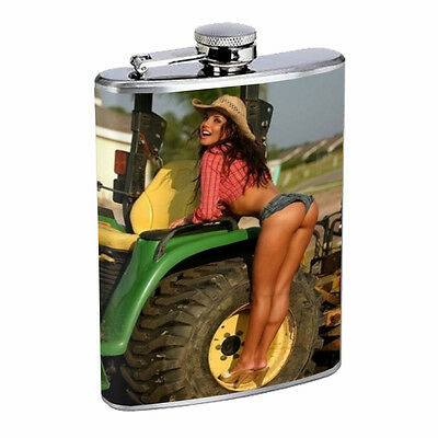 Vintage Farm Girl D8 8oz Hip Flask Stainless Steel Sexy Country Girl Hot Babe
