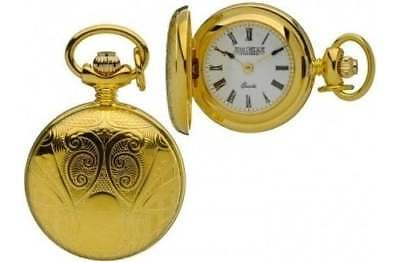 Jean Pierre Of Switzerland Gold Plated Full Hunter Pendant Necklace Watch L587P