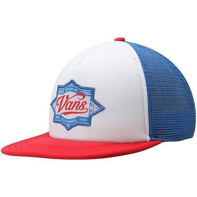 c6f3a23c591 Vans Off The Wall Brewed Snapback Trucker Hat Mens Red White Blue New NWT
