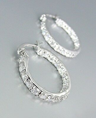 CLASSIC 18kt White Gold Plated OUTSIDE INSIDE CZ Crystals Petite Hoop Earrings