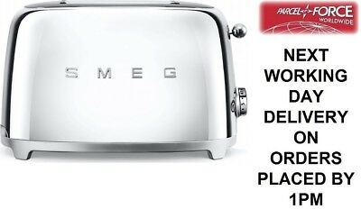 Smeg TSF01SSUK Chrome 50s Retro Style 2 Slice Toaster - 2 Year Guarantee - NEW