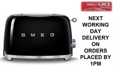 SMEG Black TSF01BLUK 2 Slice Toaster Xtra Wide Bagel Retro 50s 2 Year Guarantee