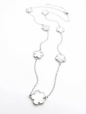 ELEGANT 18kt White Gold Plated Mother of Pearl Shell CLOVER CLOVERS Necklace
