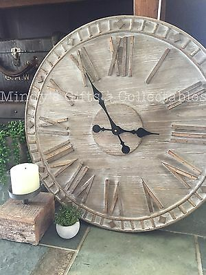 60cm Coastal Handcrafted Weathered Look Whitewashed Wooden Timber Wall Clock