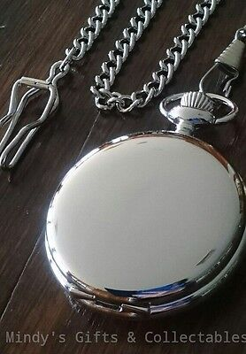 Mens Vintage Style Silver Pocket Fob Watch with Chain. Suitable for engraving