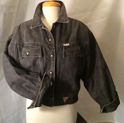 c37992f830 vintage 80 s Denim GUESS GEORGES MARCIANO Jacket Rare Black Denim Oversize  Sz L