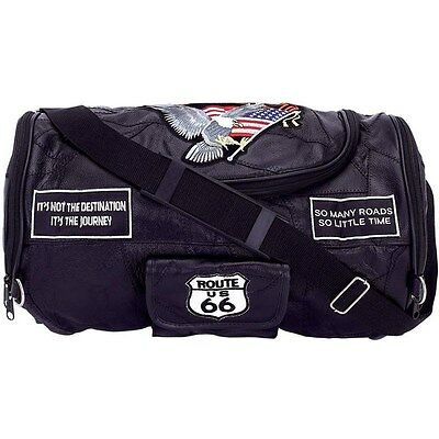 Black Motorcycle Leather Barrel Duffle Bag, Men Overnight Carry-On Tote Suitcase