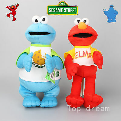 New 17'' Sesame Street Plush Elmo & Cookie Monster Toy Soft Stuffed Doll Teddy